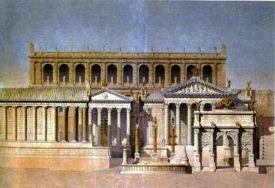 Возможный внешний вид Римского Форума и Храма