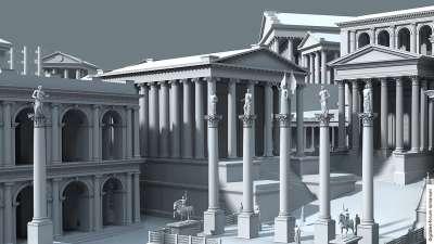 Храм Сатурна и Римсский Форум. 3D модель