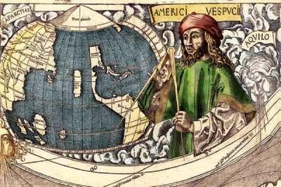 Портрет Америго Веспуччи в картуше карты мира