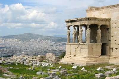 Erechtheion with the view of city of Athens