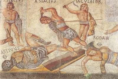 Гладиаторы. Иллюстрация на мозаике