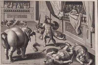 Древняя гравюра гладиаторских боев