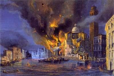 """Картина """"Венеция в огне"""" во время автрийской бомбардировки"""