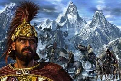 Ганнибал ведет войско через Альпы
