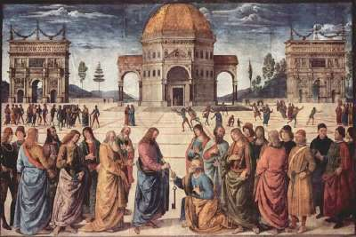 Фрески в Сикстинской капелле Сцена Христос дает Петру ключ к Царству Небесному