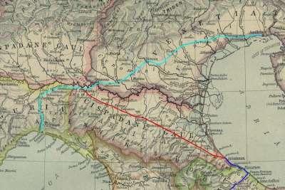 Виа Постумия на карте