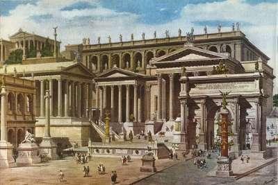 Иллюстрация Храма Цезаря на Римском Форуме