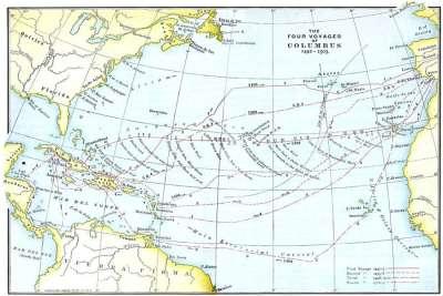 Карта экспедиций Колумба