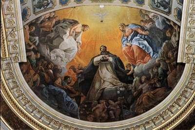 Фреска под куполом Доминиканской церкви в Болонье. Автор Гвидо Рени