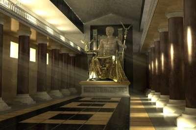 Иллюстрация статуи Зевса в Олимпии