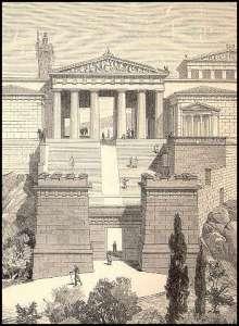 Предполагаемый внешний вид пропилей Афинского акрополя. Реконструкция 19 века