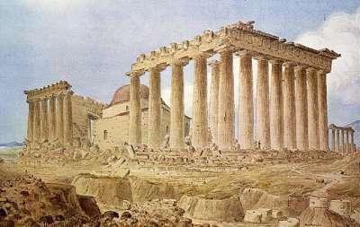 Разрушенный Парфенон с остатками собора-мечети. Автор Джеймс Скин, 1838