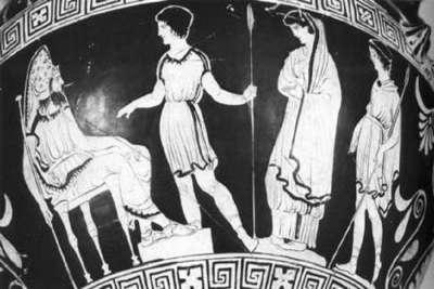 Рисунок на вазе. Иллюстрация трагедии Софокла