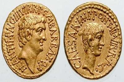 Монеты с портретами Антония и Октавиана