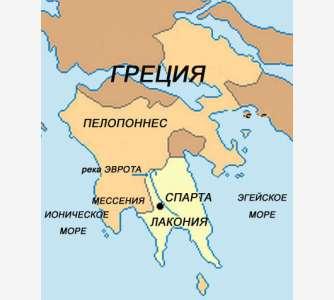 Древняя Спарта на карте