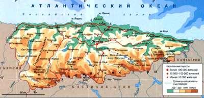 Астурия на карте