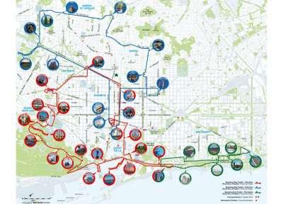 Карта туристических маршрутов по Барселоне